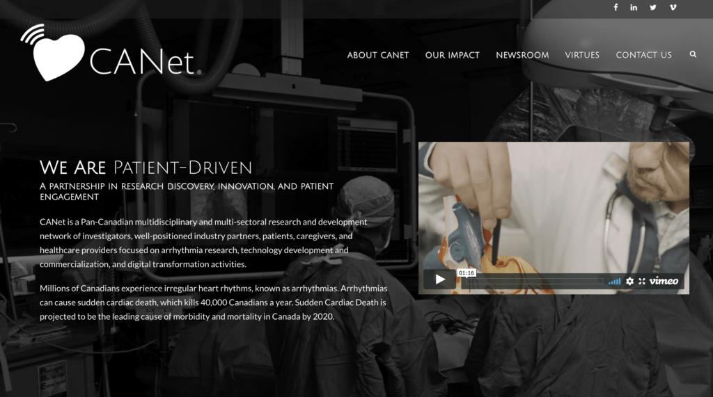 Bilingual website for CANet (Cardiac Arrhythmia Network of Canada)
