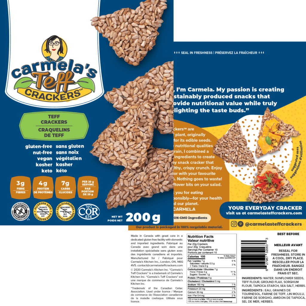 Canadian food packaging compliance for Carmela's Teff Crackers, various flavours