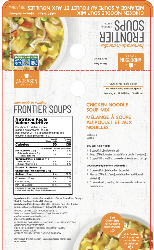 Canadian food packaging compliance for Frontier Soups, various flavours