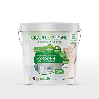 Bilingual packaging for Graphenstone paint products, various types