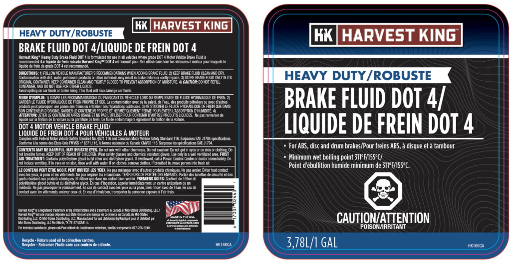 Canadian packaging compliance for Harvest King oil products, various types