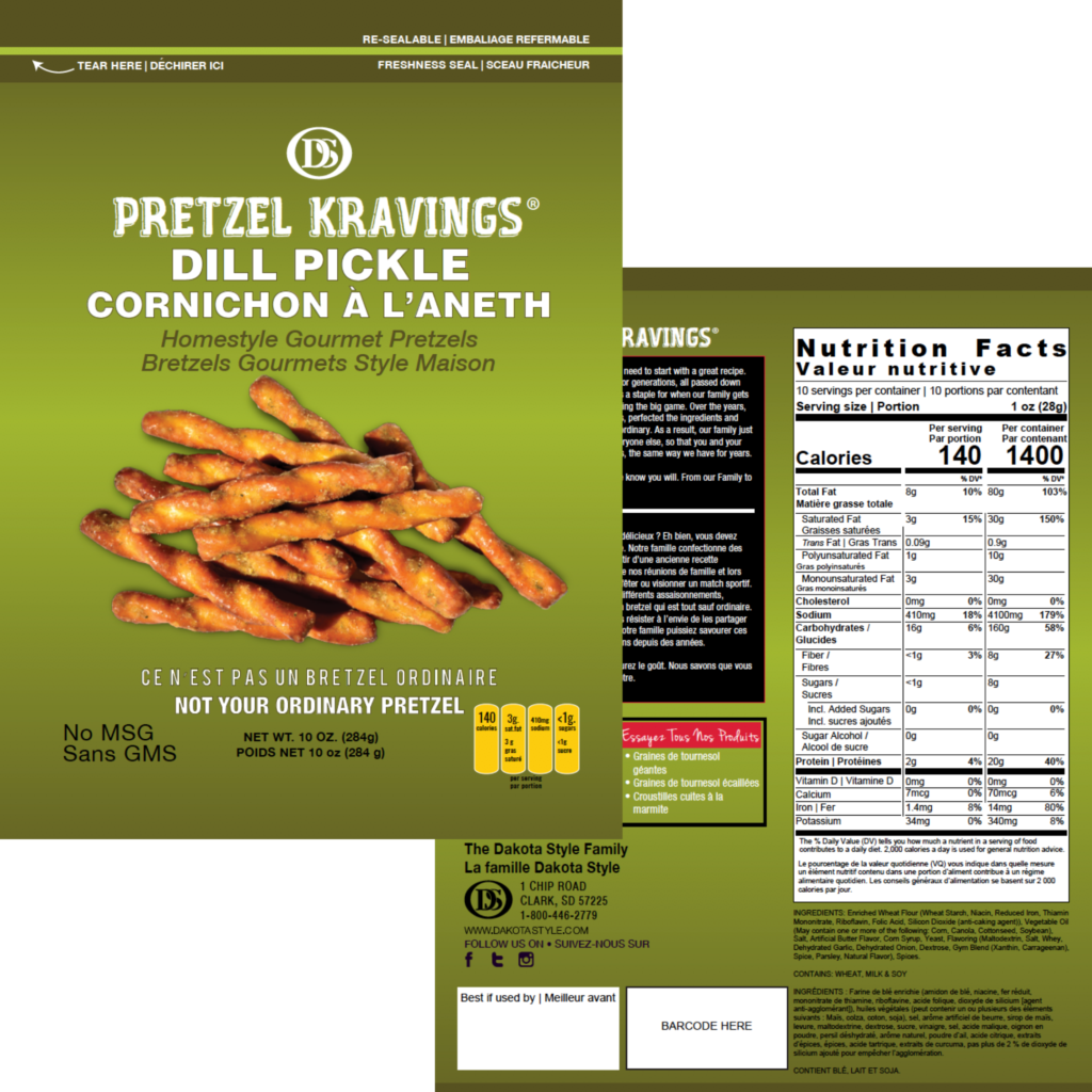 Canadian food packaging compliance for Pretzel Kravings, various flavours